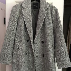 Madewell Herringbone Jacket/Coat Grey Size Small